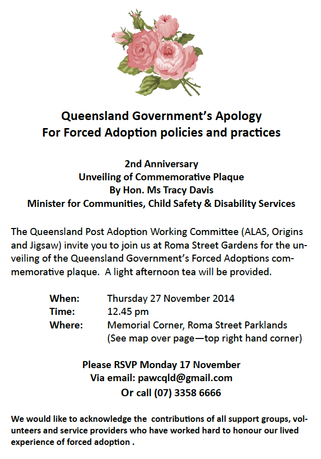 Alas australia inc previously alas qld adoption loss adult invitation to the unveiling of plaque for queensland apology for forced adoptions by hon tracy davis stopboris Choice Image