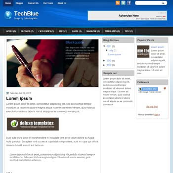 TechBlue blogger template. template blogspot magazine style