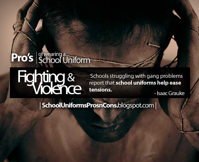 """uniforms and violence in schools No-nonsense uniforms are what many school are using as weapons in the war against gang-related violence and classroom distractions""""i just kind of steal them,"""" said maria """"that way, they do."""