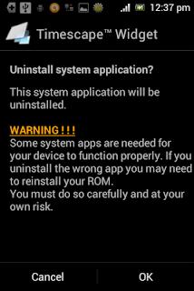 Menghapus aplikasi sistem Android