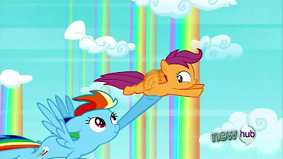 Rainbow Dash holds up Scootaloo as she flies