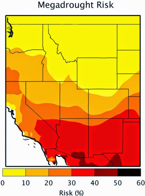 Risk of megadrought in Southwestern U.S. (Credit: Toby Ault, Cornell University) Click to enlarge.