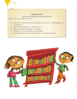 Apoyo Primaria Español 3er grado Bloque 1 lección 1 Práctica social del lenguaje 1, Elaborar el reglamento para el servicio de la biblioteca del salón