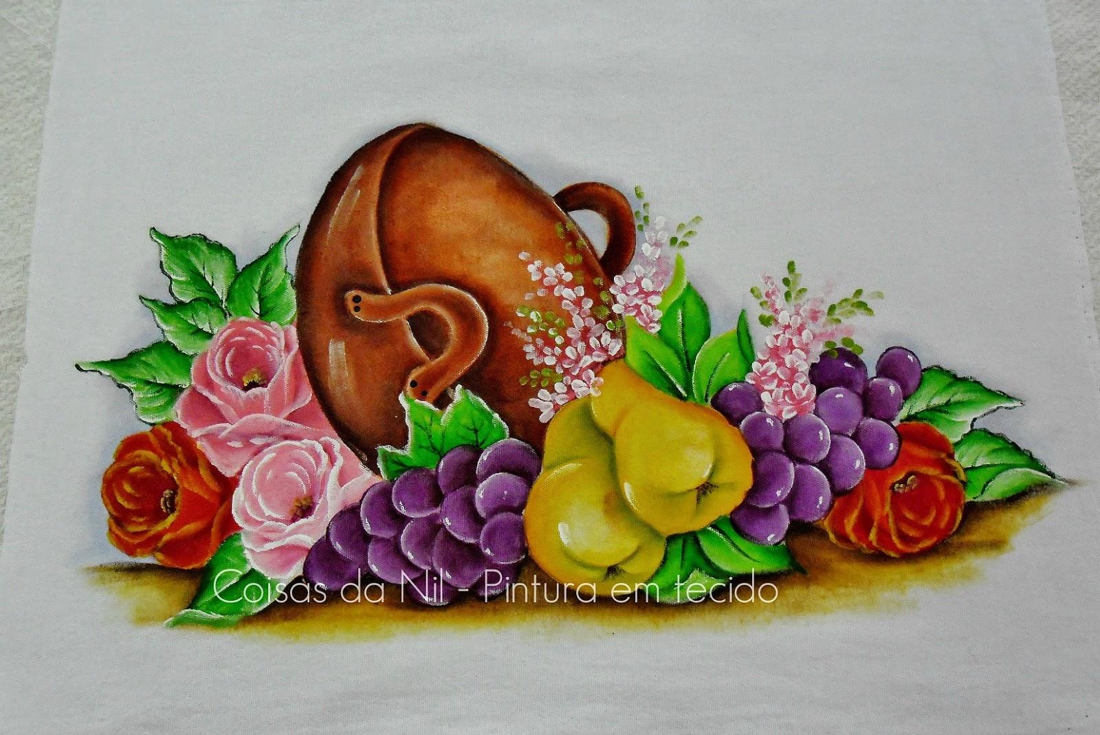 pintura em tecido tacho com frutas e rosas