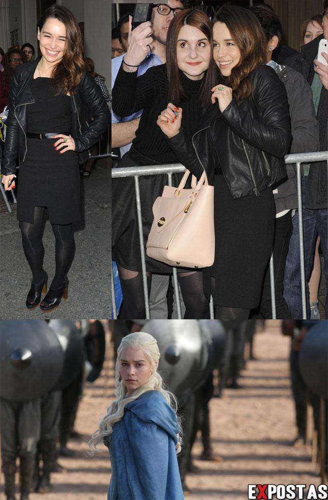 Emilia Clarke saindo do Cort Theatre | 'Game of Thrones' Stills - Abril de 2013