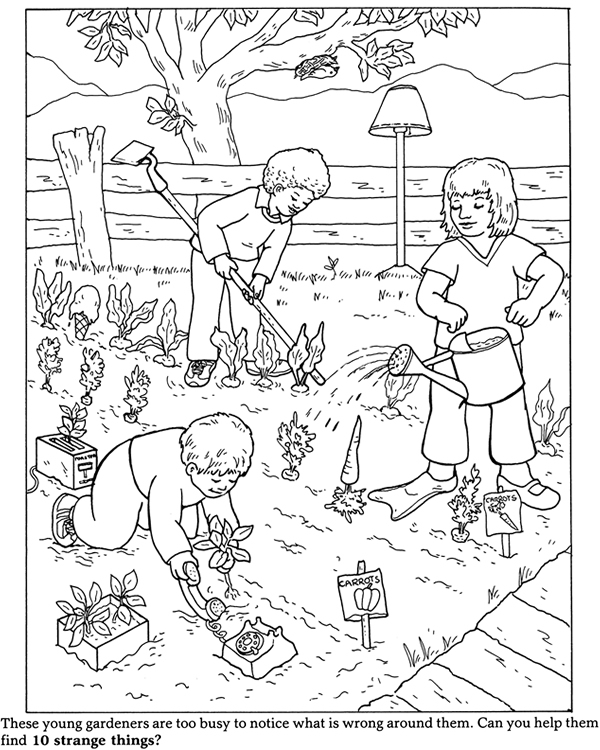 Inkspired musings it 39 s hard to be green for Garden coloring page