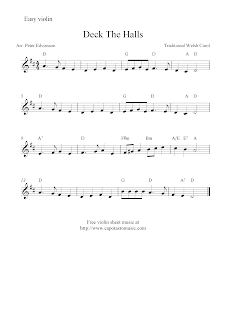 Deck The Halls, free Christmas violin sheet music notes