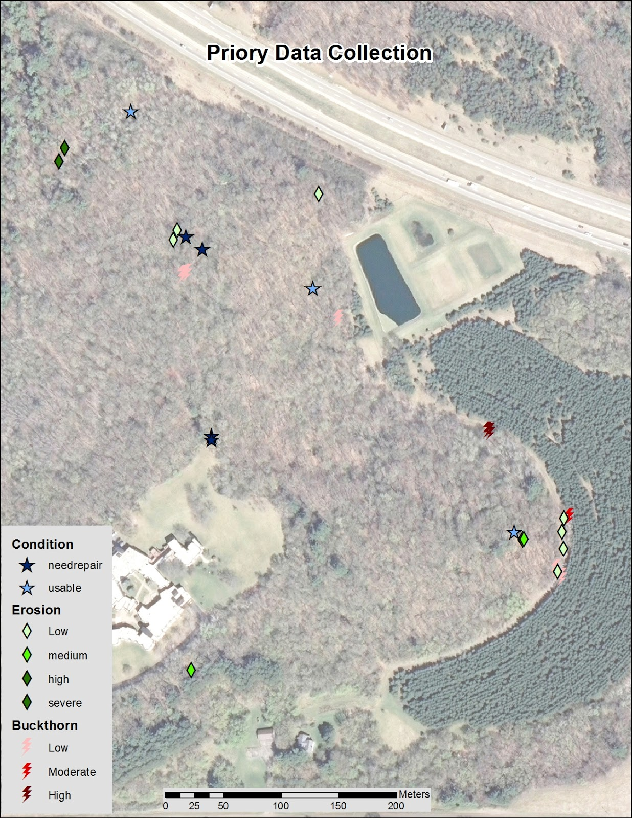 figure 3 the point locations of the three feature benches star erosion diamond and buckthorn bolt