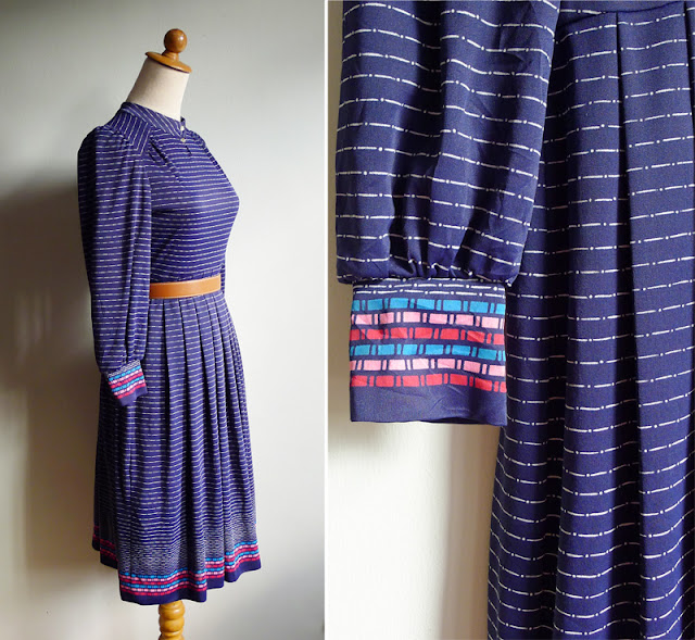 vintage indigo blue striped geometric dress