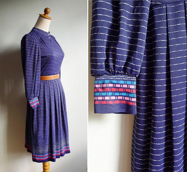 vintage indigo blue striped geometric dress