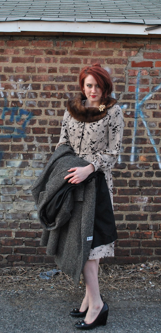 a style of your own blog, mollie booth parks, tweed overcoat, printed dress, nine west wedges, outfit post, red hair updo, gold  brooch, fur stole, fur collar, Downton Abbey inspired outfit