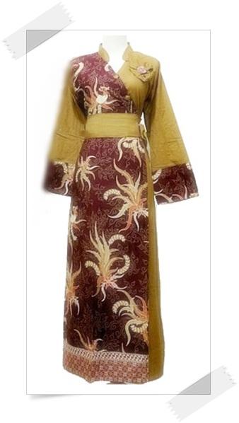 Contoh model baju gamis batik modern kombinasi Baju gamis batik anak2