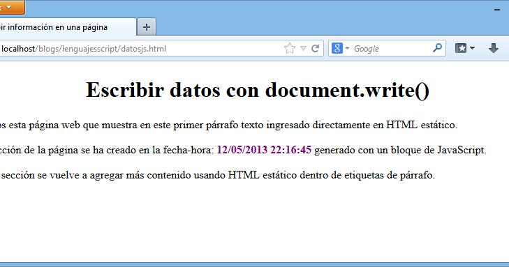 document write script Documentwrite(hello world) lo script va inserito nella sezione della pagina html, altrimenti l'istruzione documentwrite non viene eseguita correttamente dal browser come funziona.
