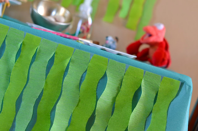 The Little Mermaid craft party with DIY Little Mermaid party decorations, DIY Little Mermaid tablecloth, #DisneyPrincessPlay #shop #cbias