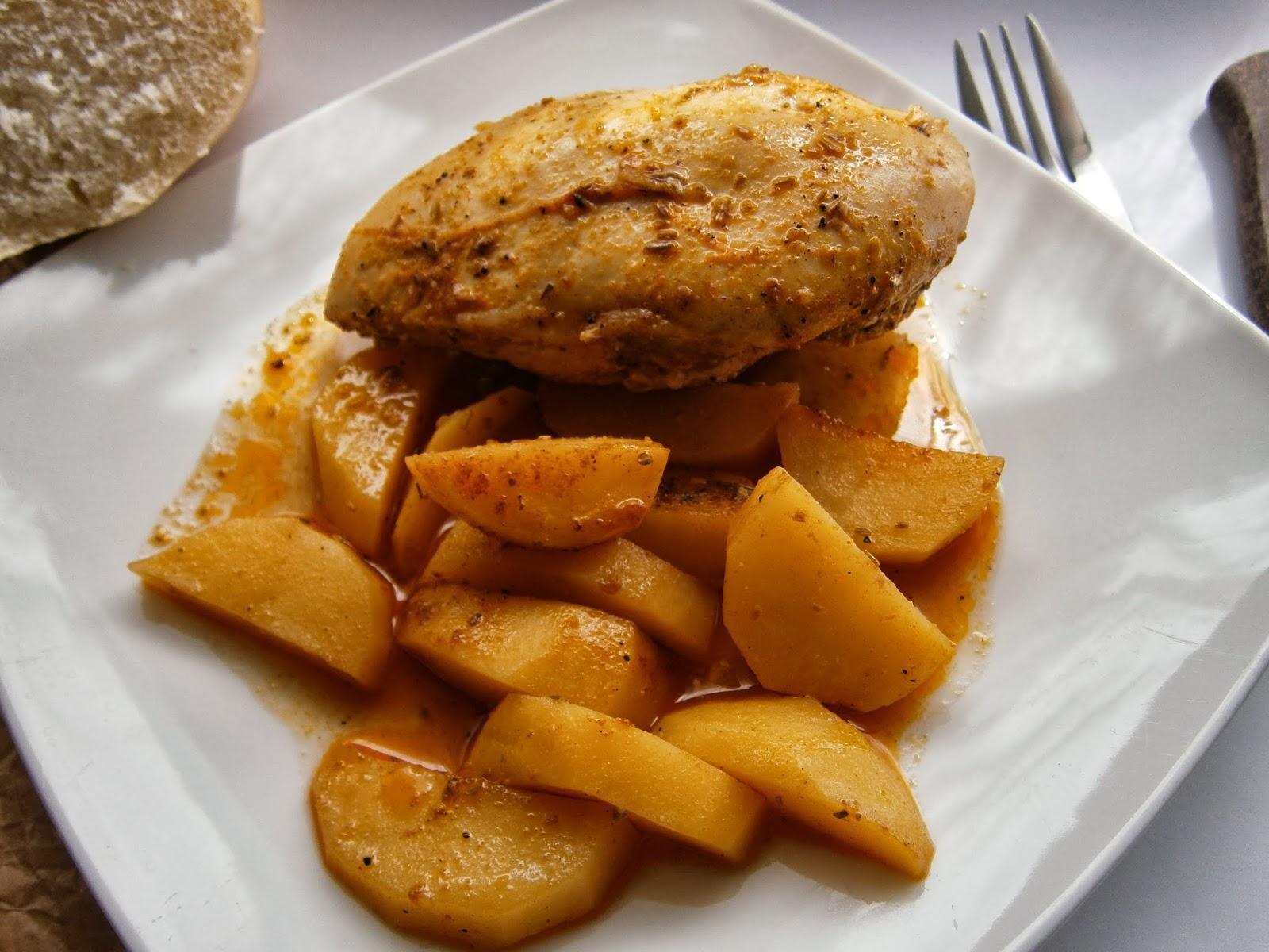 Quitahambres pollo adobado al horno con papas - Pollo al horno con limon y patatas ...