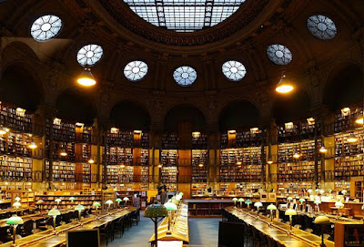 """Bibliothèque nationale de France, Paris (site Richelieu) - Salle Ovale 2"" by Poulpy - File:Cabinet des médailles, Paris - Salle Ovale.jpg. Licensed under CC BY-SA 3.0 via Wikimedia Commons - https://commons.wikimedia.org/wiki/File:Biblioth%C3%A8que_nationale_de_France,_Paris_(site_Richelieu)_-_Salle_Ovale_2.jpg#/media/File:Biblioth%C3%A8que_nationale_de_France,_Paris_(site_Richelieu)_-_Salle_Ovale_2.jpg"