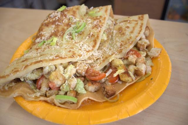 Pancake with Caesar salad