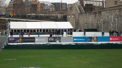 An ice rink set up on the premises of the Tower of London.