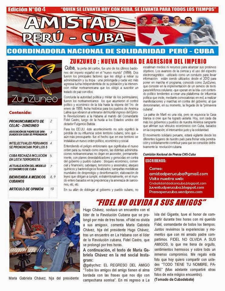 "BOLETÍN N°004 ""AMISTAD PERÚ CUBA"""