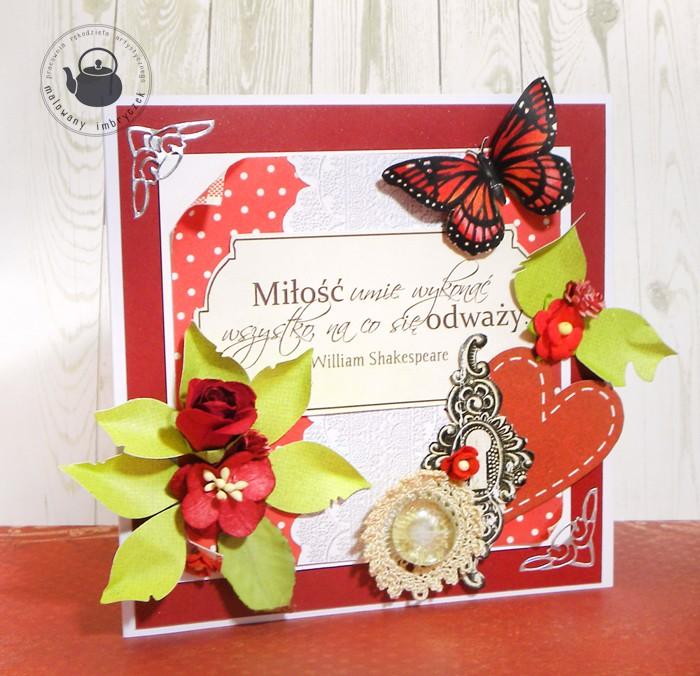 scrapbooking card valentine walentynki malowany imbryczek butterfly