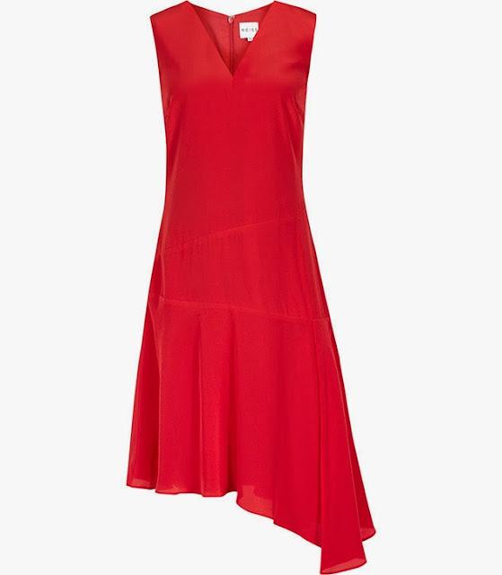 reiss red dress, red asymmetric dress, red v neck dress reiss,