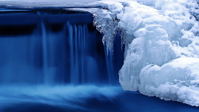 Cold snow winter ice river blue HD Wallpaper