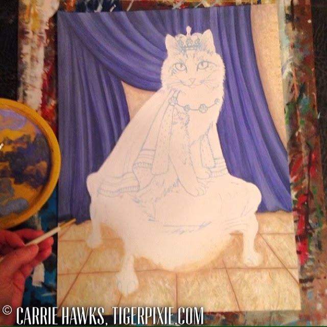 Prince Anakin The Two Legged Cat Painting WIP by Tigerpixie Carrie Hawks