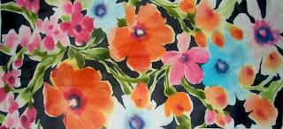 Contoh design lukis kain yang menggunakan teknik kering dengan paraffin | http://textiledsg.blogspot.com/