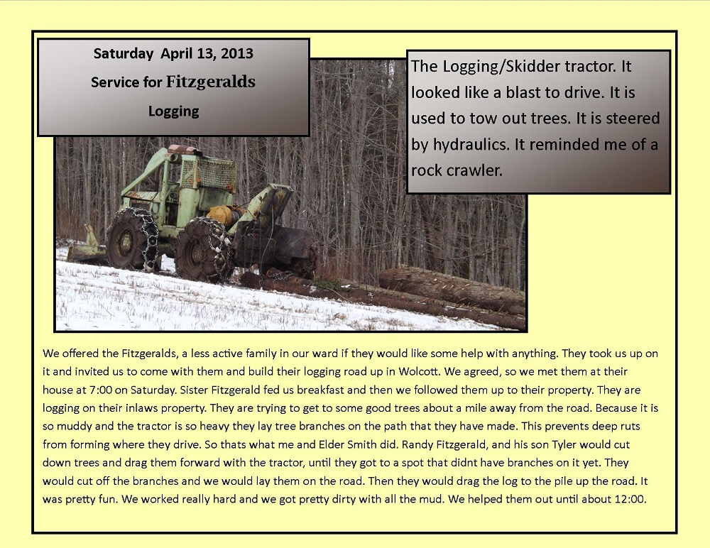 April 13, 2013 - Logging Service