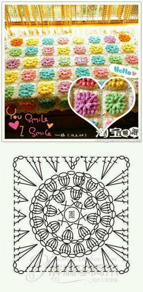 Manta de grannys en 3D / patrones gratis | Crochet y Dos agujas ...