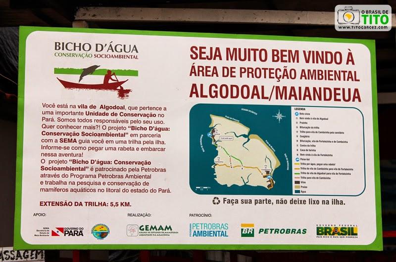 Placa e mapa da APA - Área de Preservação Ambiental Algodoal-Maiandeua, no Pará