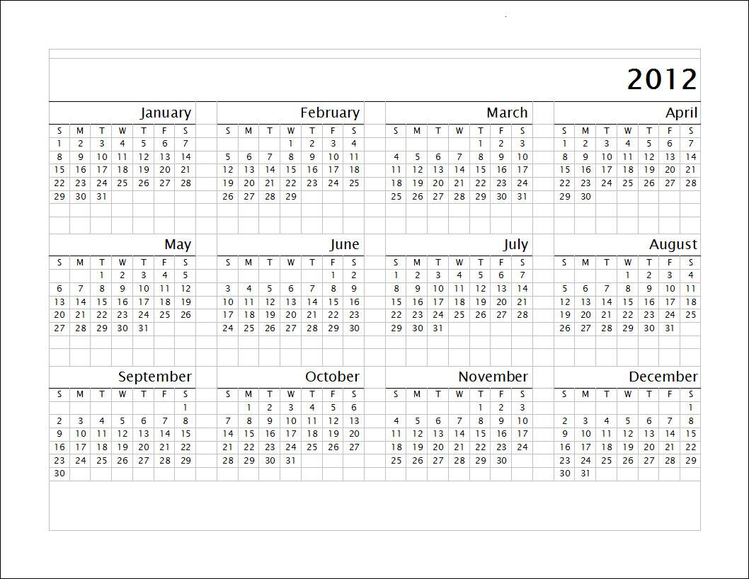 Calendario 2012 En Ingles Para Colorear