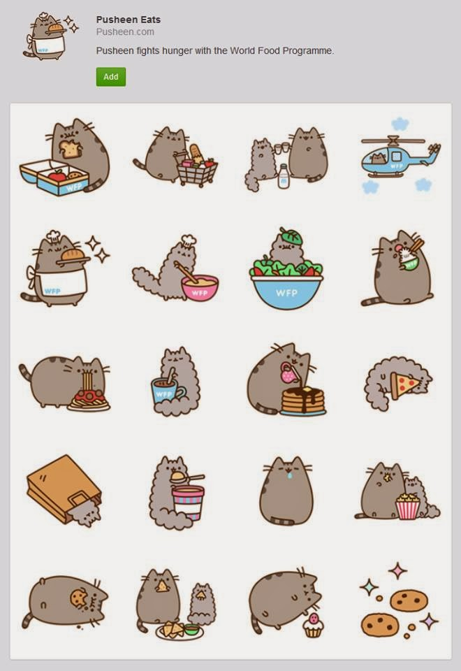 I love Kawaii: Pusheen Eats, Cute Facebook Animated Stickers