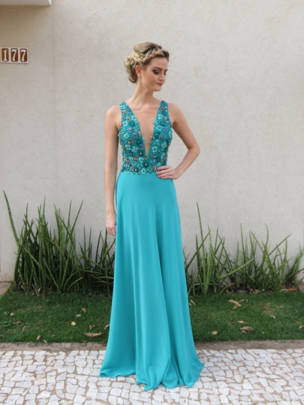 Vestido de madrinha de casamento azul turquesa