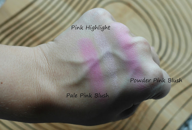 Swatches Bobbi Brown Pale Pink Blush, Bobbi Brown Pink Highlighter, Bobbi Brown Powder Pink Blush