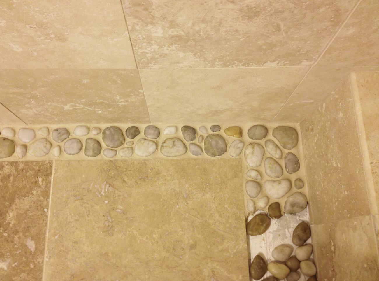 Apartmentf15 Bathroom Renovation Part 3 River Rock Accent Floor