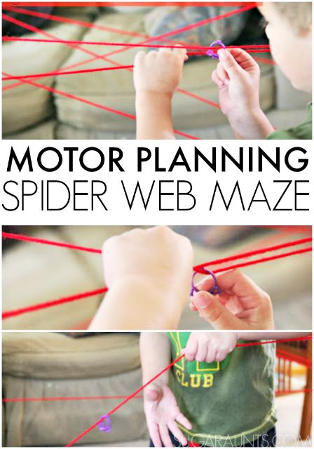 Visual motor planning and hand-eye coordination with a Halloween or spider theme using this room-sized maze that kids can build and get into and climb around.  This is a fun indoor play activity for kids who have a lot of energy. A great fine motor activity for kids too!