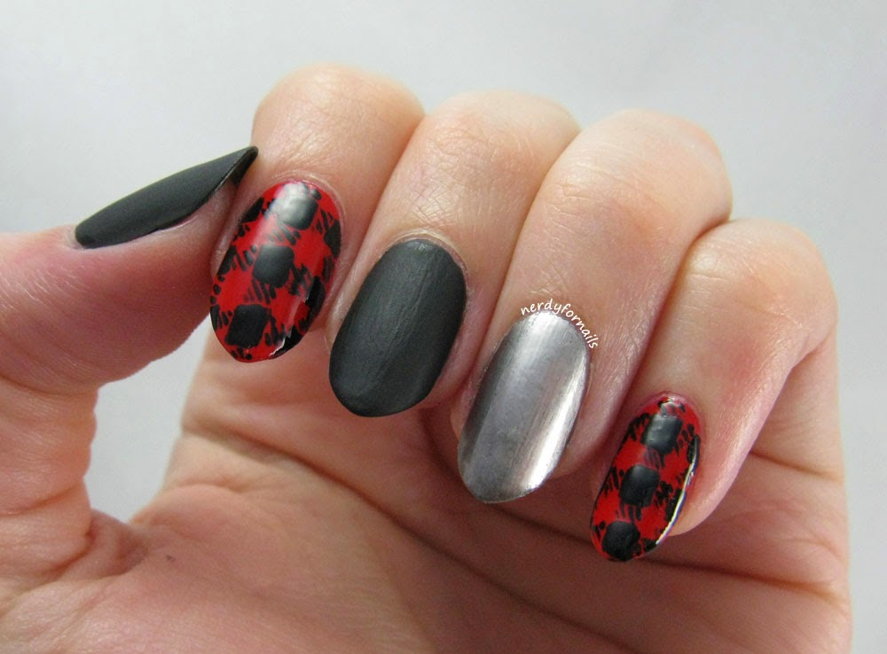 Fall Fashion Inspired Nails Black Leather and Red Plaid