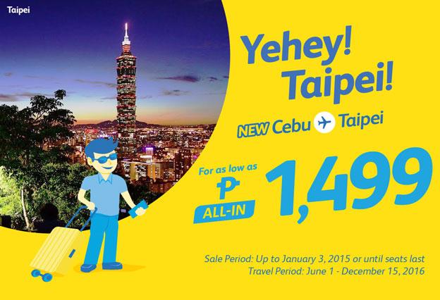 Cebu Pacific Promo Cebu to Taipei 2016