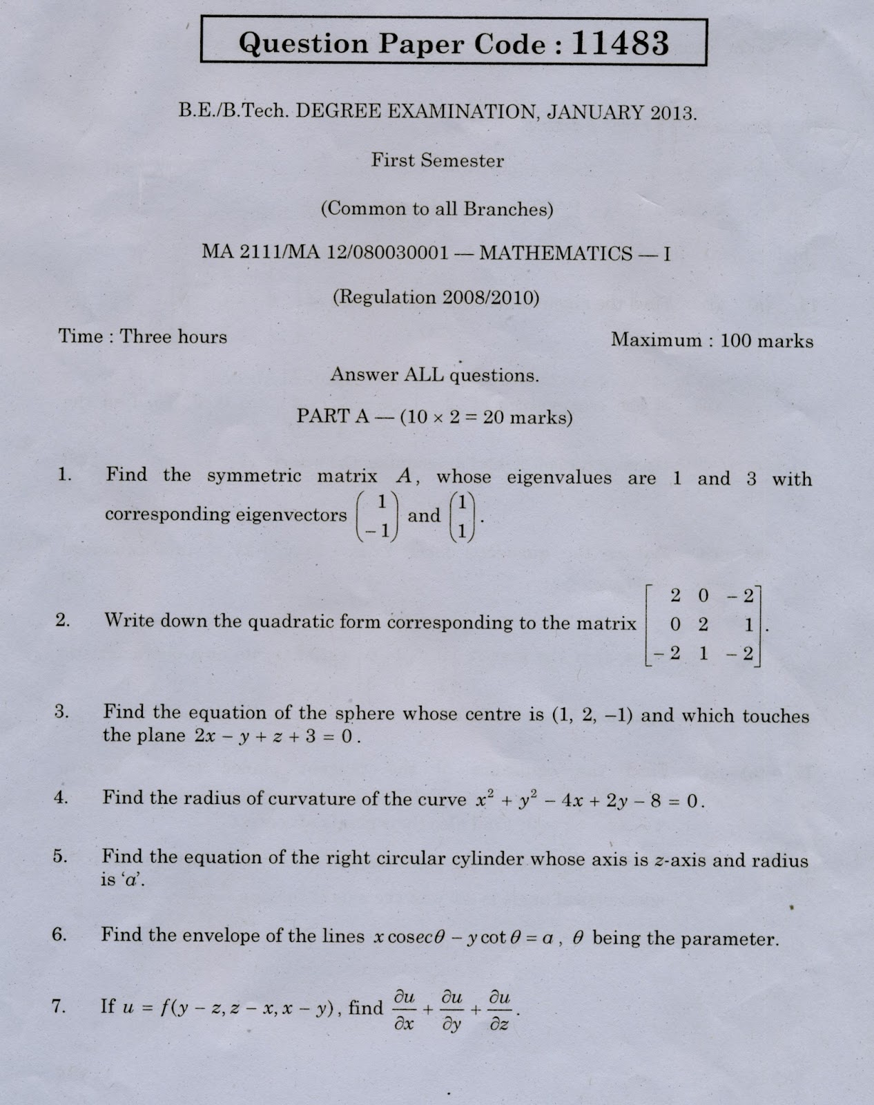 Questionbank2u all dept question papers cy 2111 engineering chemistry i anna university january 2013 question paper fandeluxe Choice Image