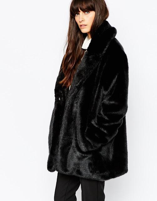 black faux fur coat, selected black fur coat,