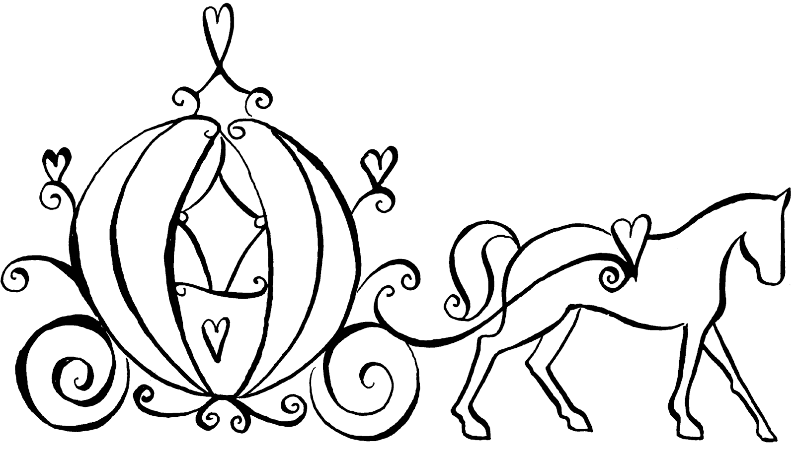 free cinderella carriage coloring pages - photo#14