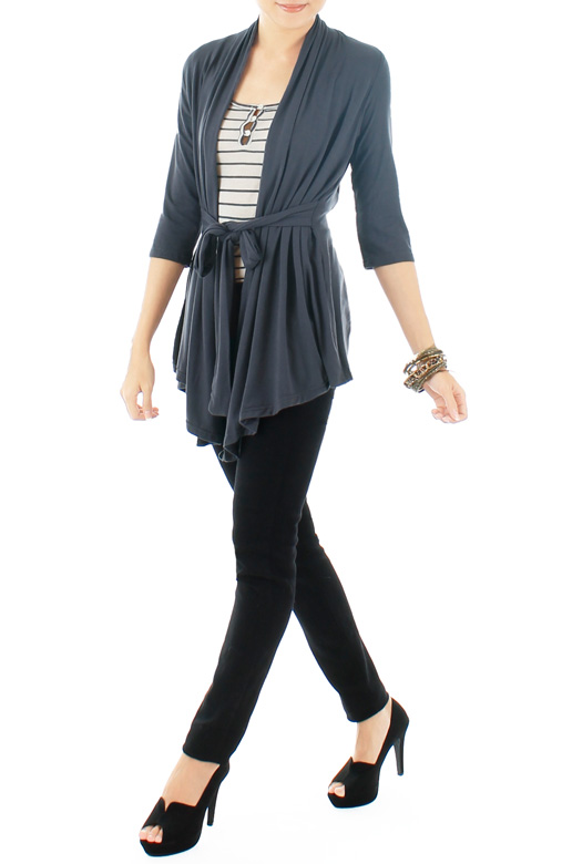 Charcoal Grey Cozy Cardi with Ribbon Tie