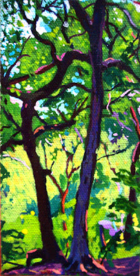 acrylic landscape painting of a tree in San Antonio