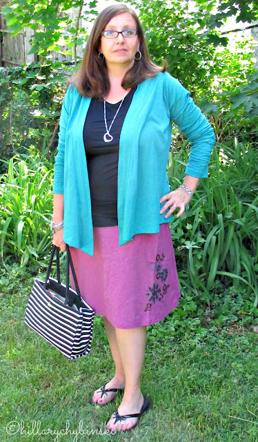 Aventura Meryl Skirt Styled with a Sleeveless T Shirt and Kyle Wrap