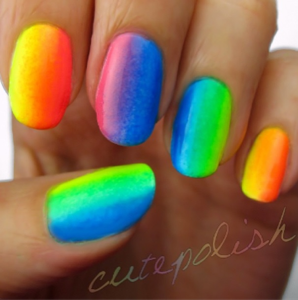 How To Do Ombre Nail Polish: VintageVelvets...: CutePolish: Rainbow Ombre Using Only 3