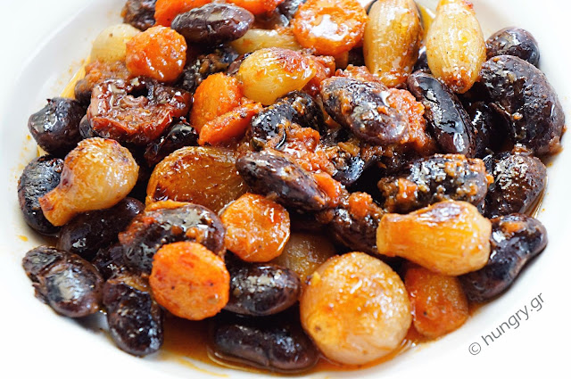 Black Giant Beans with Stewed Onions