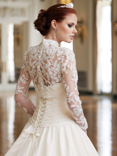 Fashion she9 petite wedding dresses with sleeves lace for Petite lace wedding dresses