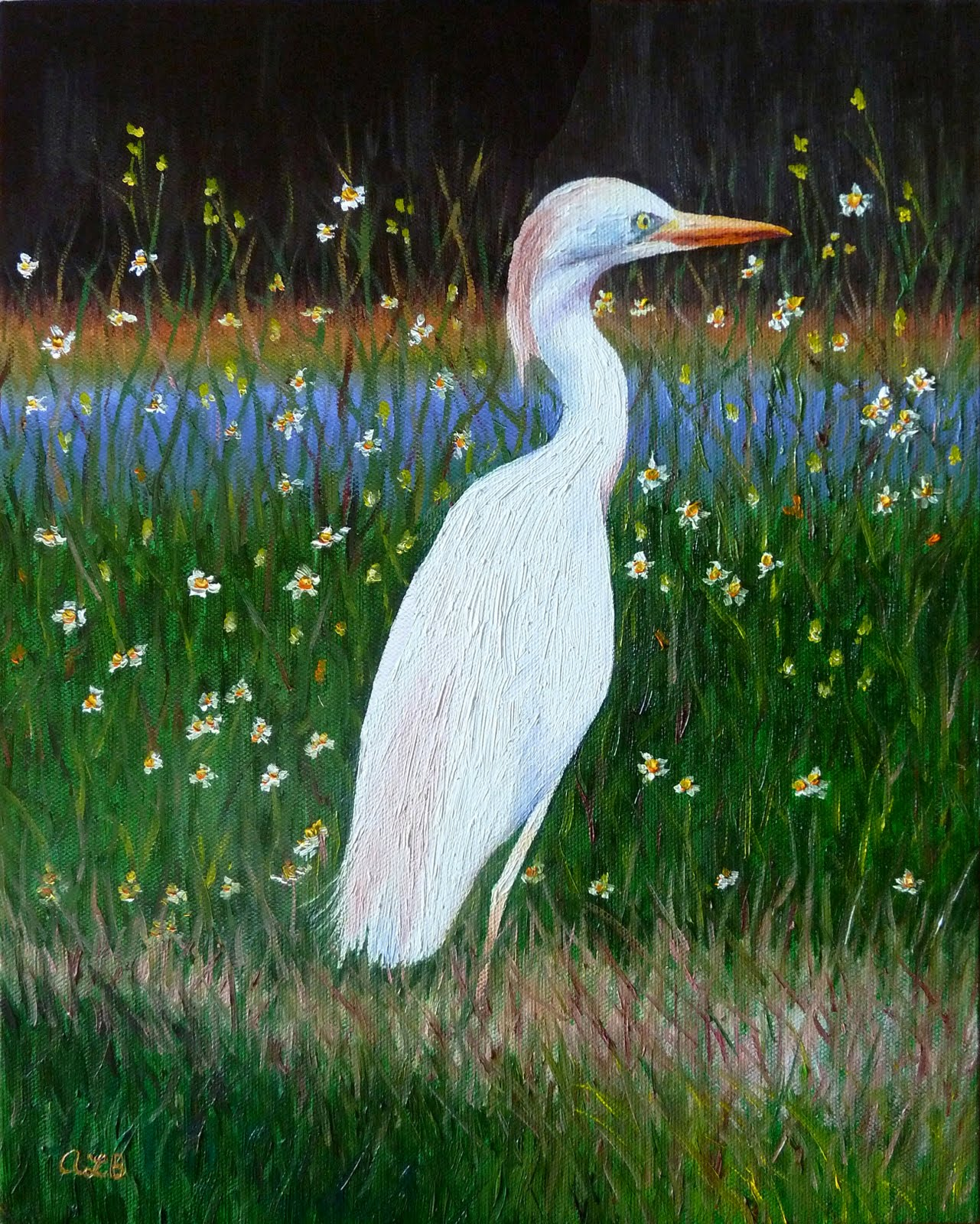 Audra 39 s oil paintings commission cattle egret 2011 11 for White heron paint