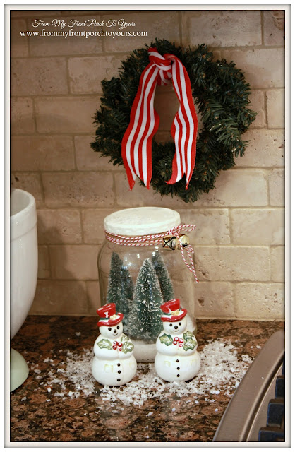 Vintage Farmhouse Christmas Kitchen-Christmas Vignette- Vintage -Snowman- Salt & Pepper- Shakers-From My Front Porch To Yours